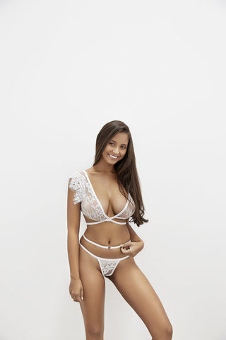 Lil & Emm Flirty Cross Over Bralette- White- Miss Winks Online Boutique