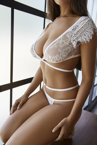 Lil & Emm Flirty Crossover g-string- White- Miss Winks Online Lingerie Boutique