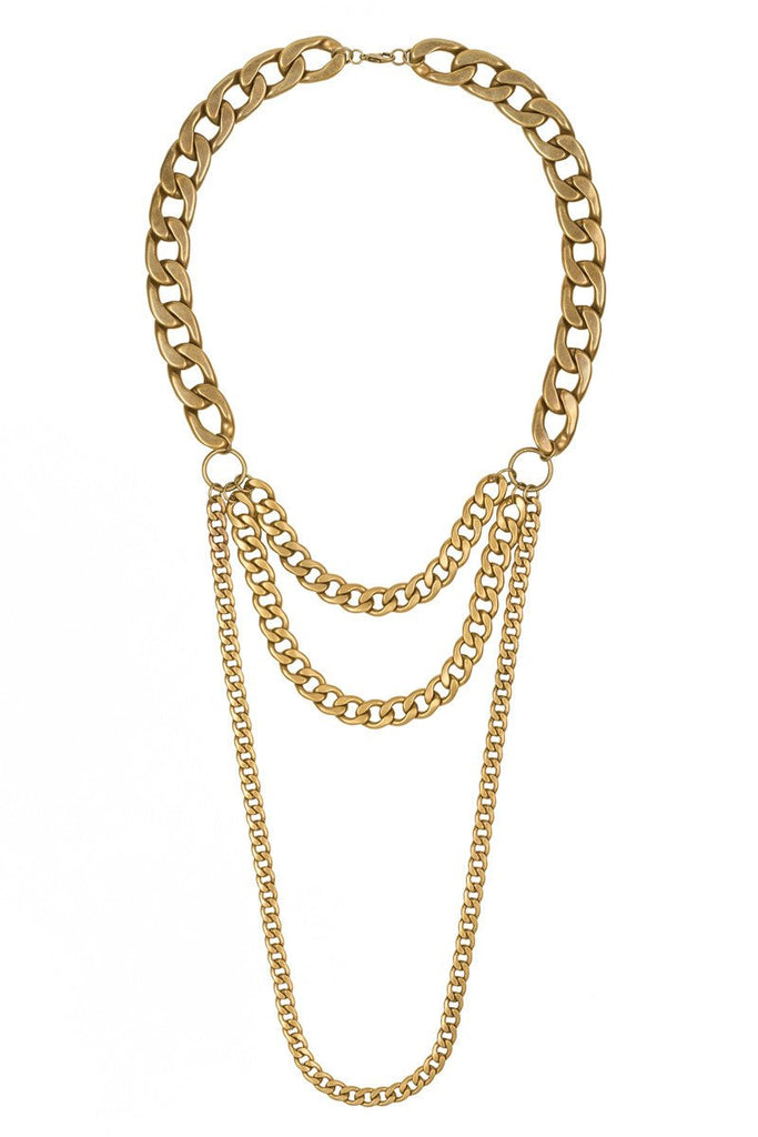 Elle Louise Layered Chain Necklace- Brass