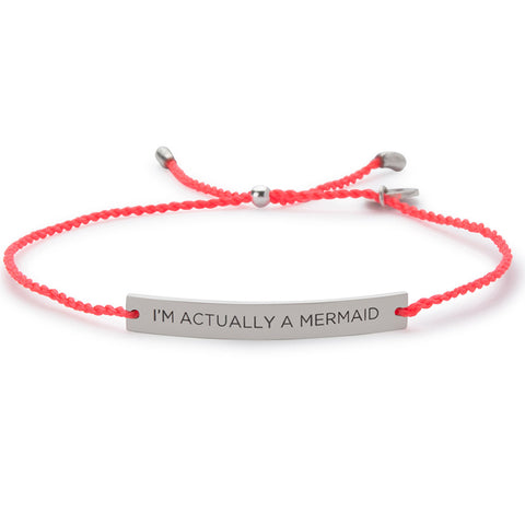 Damselfly I'm Actually A Mermaid Bracelet- Coral/ Silver