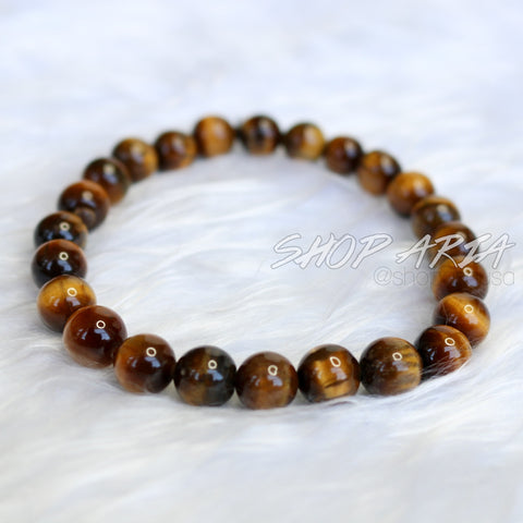 Brown Marbled Agate Beaded Bracelet