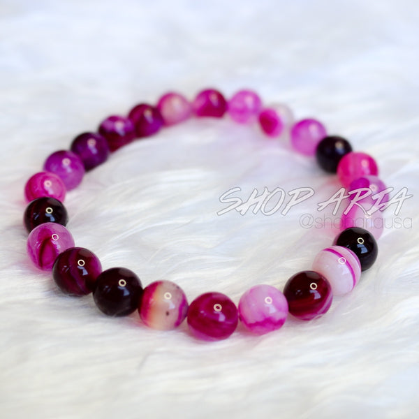 Purple Marbled Agate Beaded Bracelet