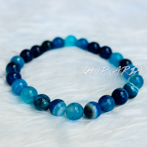 Blue Marbled Agate Beaded Bracelet