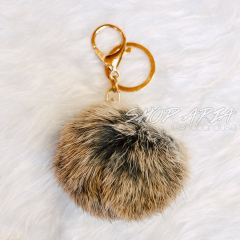 Light Brown Fur Ball Keychain