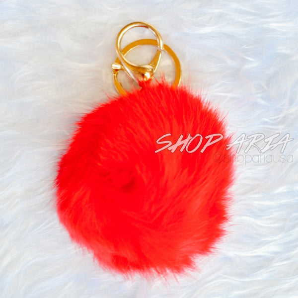 Red Fur Ball Keychain
