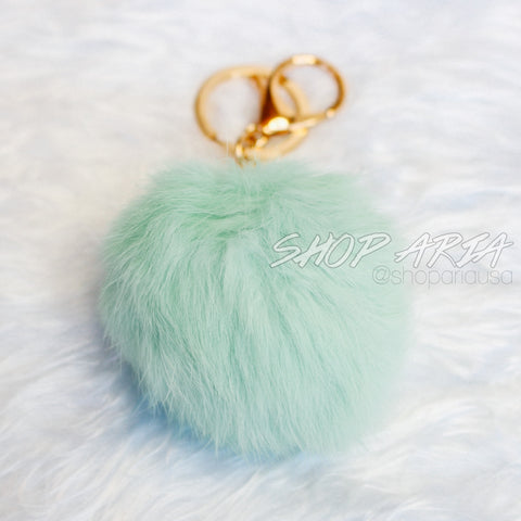 Mint Fur Ball Keychain