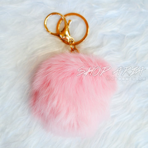 Light Pink Fur Ball Keychain