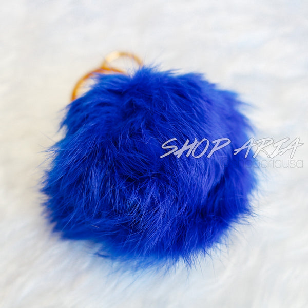 Blue Fur Ball Keychain