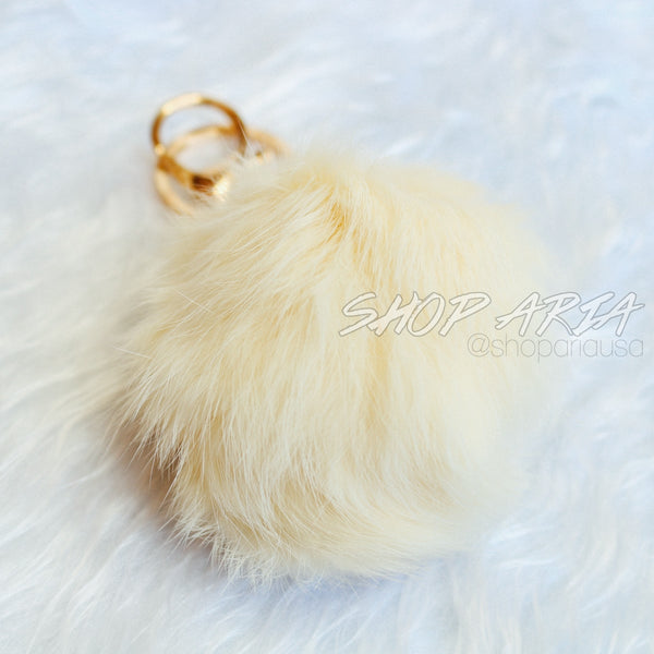 Cream Fur Ball Keychain