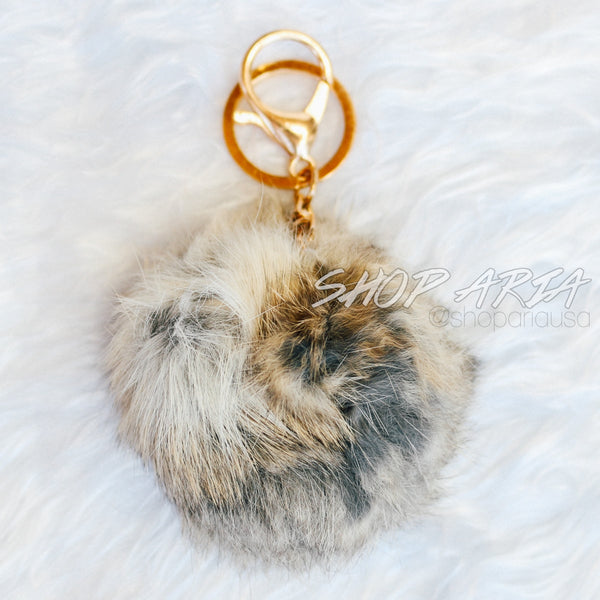 Grey & Tan Fur Ball Keychain