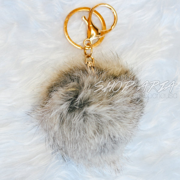 Grey Fur Ball Keychain