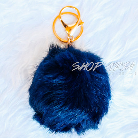 Navy Fur Ball Keychain