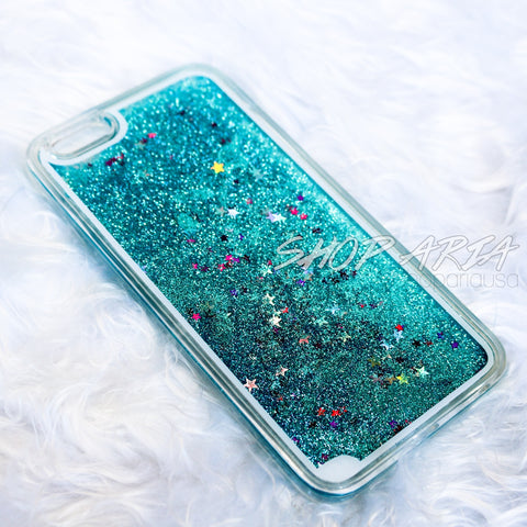 Teal Liquid Glitter iPhone 6/6s Plus Case