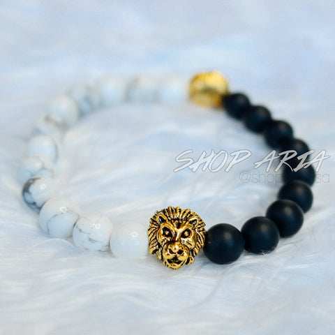 White Marble and Matte Black Lion Bracelet