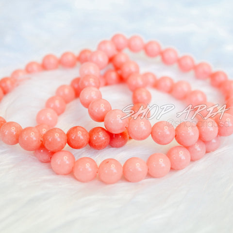Coral Agate Beaded Bracelet