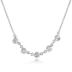AuC 5 DIAMOND EVA 18K WHITE GOLD NECKLACE