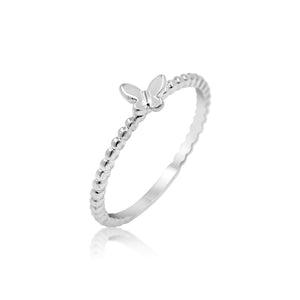 AuC 18K WHITE GOLD BEADED SMALL BUTTERFLY GOLD RING
