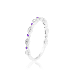 WEDNESDAY AMETHYST & DIAMOND RING