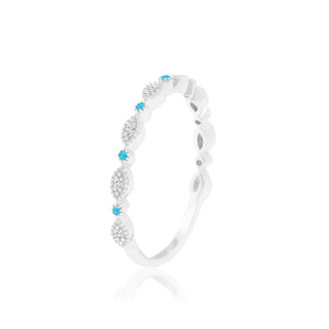 SUNDAY BLUE TOPAZ & DIAMOND RING