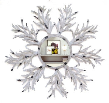 Decorative Leaf Round Mirror