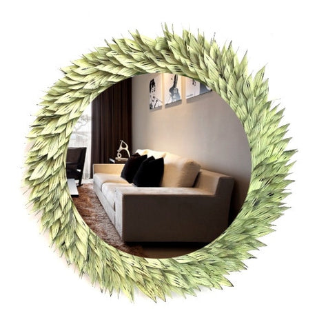 Metal Leaf Round Mirror