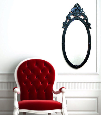 Oval Black Wall Mirror VDS-36