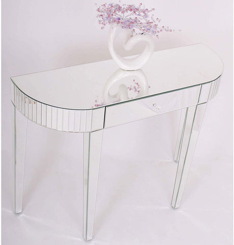 Curved Mirrored Console Table with Drawer VDMF-430