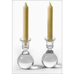 GLASS CANDLE STANDS SET OF 2