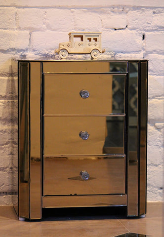 Mirrored Bed Side Table, 3 Drawer , Bronze Coloured Glass, VDMF402
