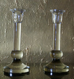Glass Candle Stand, Set of 2
