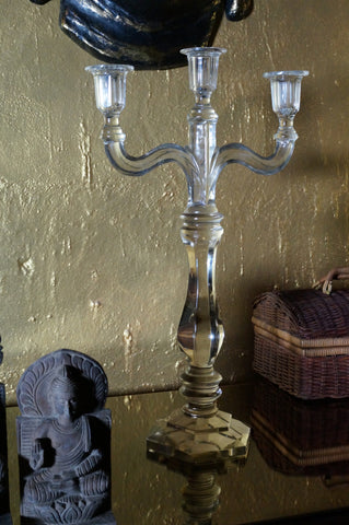 Glass Candle Stand, 3 Candle Holders