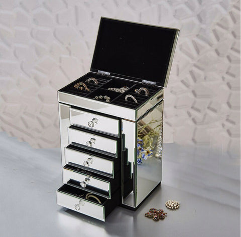 Silver Mirrored Jewellery Box