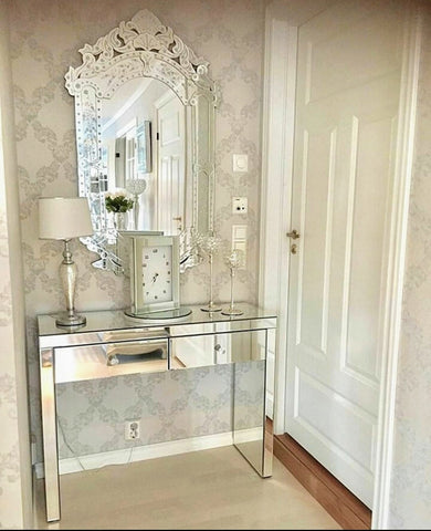 Venetian Mirror and Mirrored Console