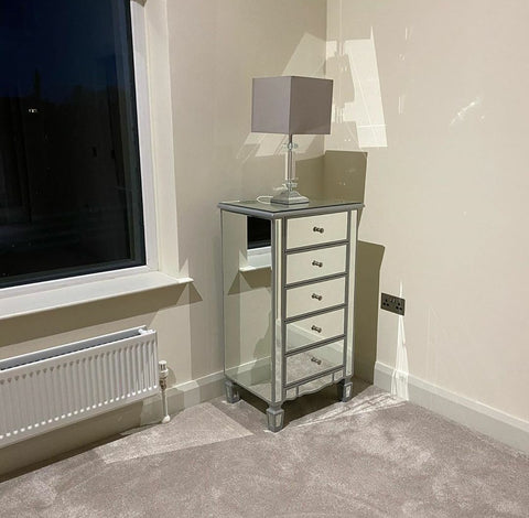 Mirrored Side Table with Drawers