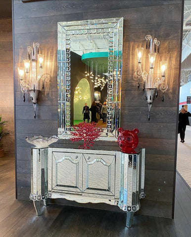 Venetian Mirror with Mirrored Cabinet