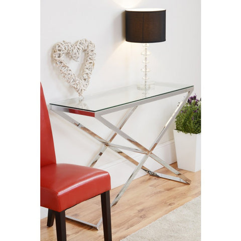 Console Table Chrome stand and Glass top VDHZ1007