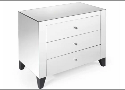 Mirrored Bed Side Table, 3 Drawers VDHZ1019