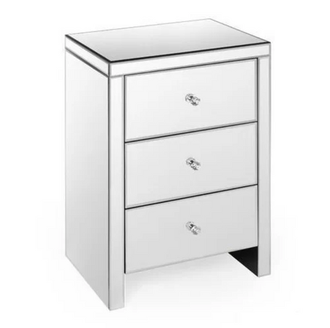 Mirrored Bed Side Table, 3 Drawers VDHZ1020