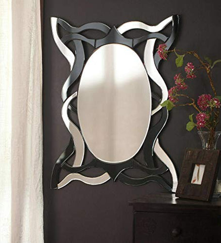 Black and Silver Curves Wall Mirror VDR-524