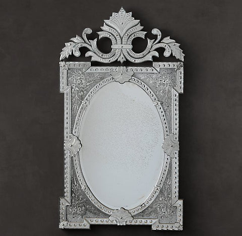 Rococo Floral Etched Mirror - Antique Finish VDRH-01