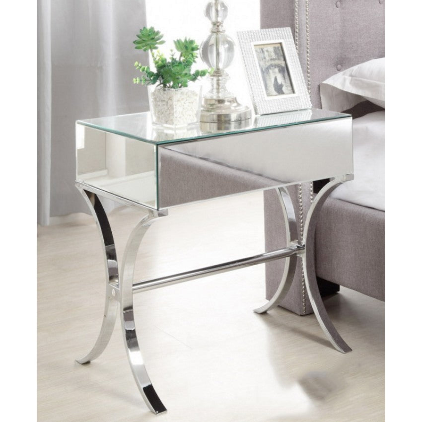 free shipping 91fce 35249 Mirrored Bedside Table with Chrome Stand Single Drawer