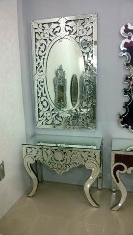 CARVED CONSOLE TABLE WITH MIRROR
