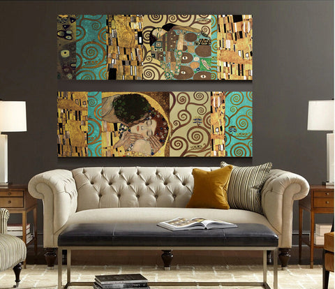 The Kiss and The Tree of Life, The new mix and match decorative forms Canvas Wall Art