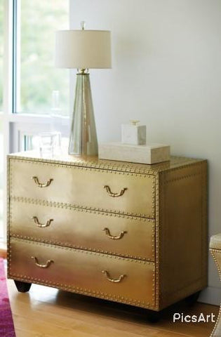 Brass Three Drawer Chest