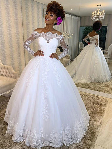 A Line Tulle and Lace Wedding Dress Bridal Gown with Sleeves LSY116 - LaRovias