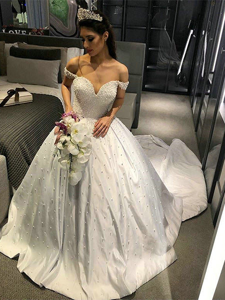 A Line Off the Shoulder Satin Wedding Dress Bridal Gown LSY117 - LaRovias