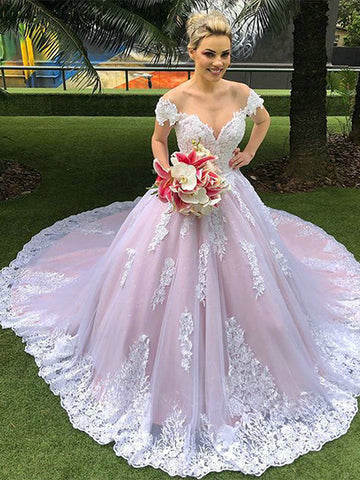 Off the Shoulder Tulle and Lace Wedding Dress Bridal Gown LSY118 - LaRovias