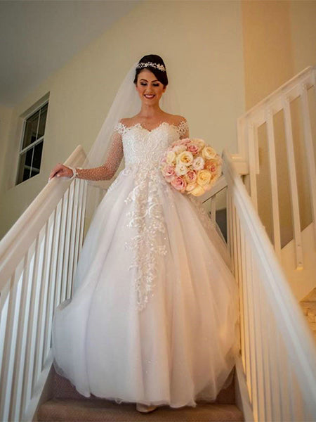 Beaded Tulle and Lace Wedding Dress Bridal Gown with Long Sleeves LSY120 - LaRovias