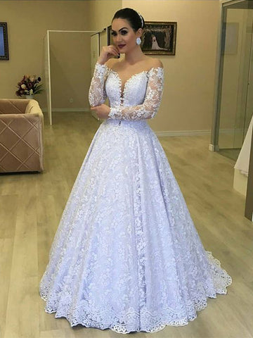A Line Lace Wedding Dress with Long Sleeves LSY110 - LaRovias