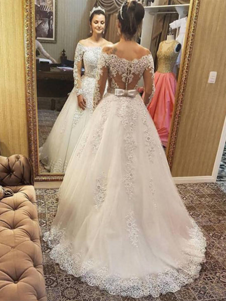 Tulle and Lace Beaded Wedding Dress Bridal Gown with Long Sleeves LR071 - LaRovias